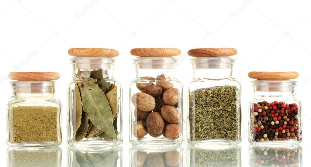 Powder spices in glass jars  isolated on white — Stock Photo #12184187