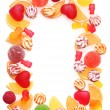 Frame of colorful jelly candies isolated on white — Stock Photo #12190986