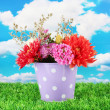 Purple bucket with white polka-dot with flowers on sky background — Stock Photo #12191372