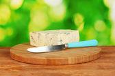 Queijo com mofo e faca na placa do corte fundo verde brilhante — Foto Stock