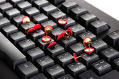 Painful typing, pins on keyboard close-up — Stock Photo