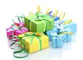 Bright gifts with bows isolated on white — Foto Stock