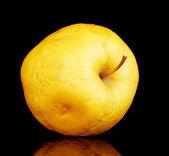 Gele apple als probleem huid concept geïsoleerd op zwart — Stockfoto
