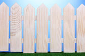 Wooden fence and green grass on blue background — Stock Photo
