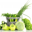 Fresh green vegetables in basket isolated on white — Stock Photo #12217687
