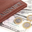 Passport and ticket close-up - Stock Photo