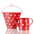 Stock Photo: Red watering cand bucket with white polka-dot isolated on white