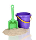 Children's beach toys and sand isolated on white — Stock Photo