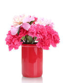 Bouquet of carnations and peonies in a vase isolated on white — Stock Photo