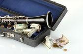 Instrumento musical con dinero aislado en blanco — Foto de Stock