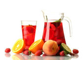 Sangria in jar nad glass with fruits, isolated on white — Stock Photo