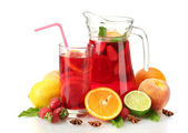 Sangria in jar and glass with fruits, isolated on white — Stock Photo