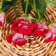 Постер, плакат: Beautiful vinous roses on wicker mat close up