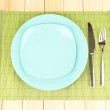 Table setting on wooden background close-up — Stock Photo #12276452