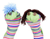 Cute sock puppets isolated on white — 图库照片