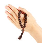 Hands in Prayer with Crucifix on white background close-up — Stock Photo