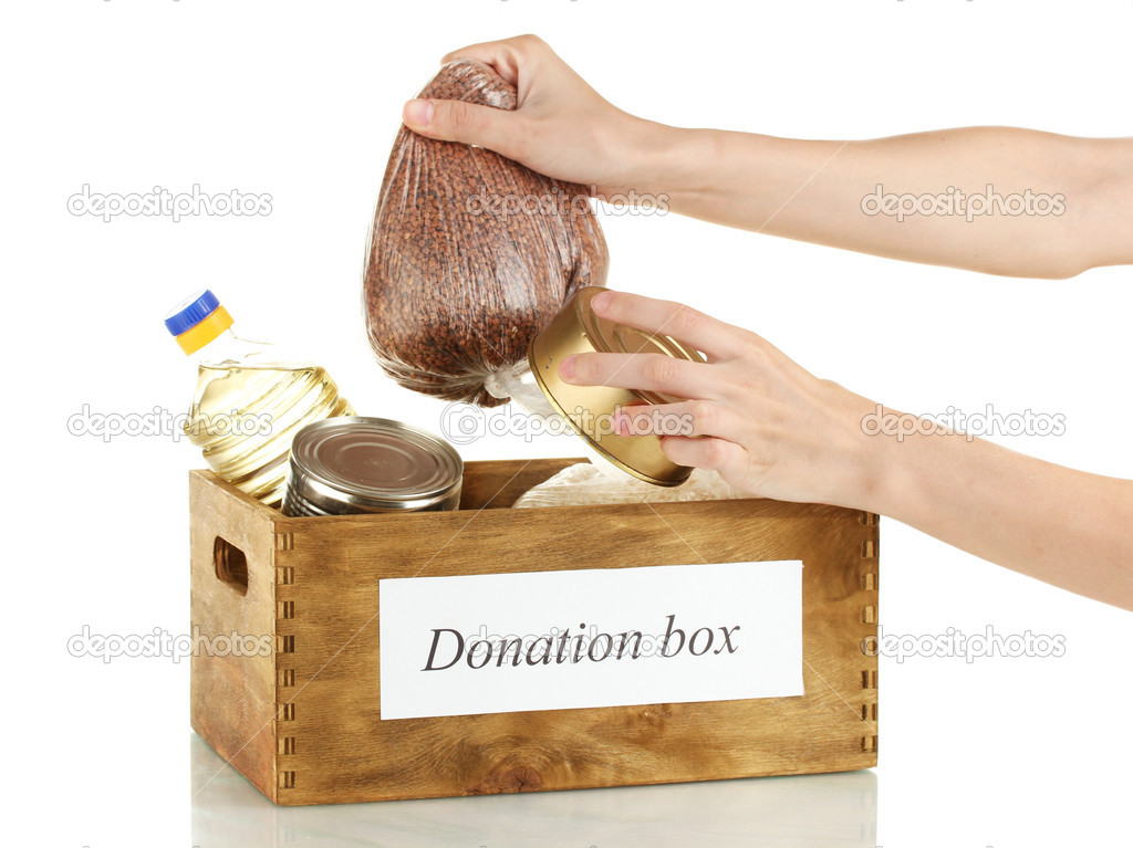 Donation box with food on white background close-up  Stock Photo #12317686