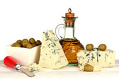 Composition of blue cheese and olives in a bowl on white background close-up — Stock Photo