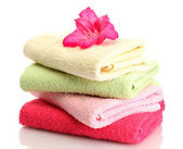 Bright towels and flower isolated on white — Stock Photo