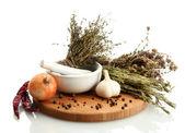 晒干的草药在砂浆和蔬菜、 白分离株 — 图库照片