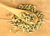 Green cardamom in wooden spoon on wooden background close-up — Stock Photo