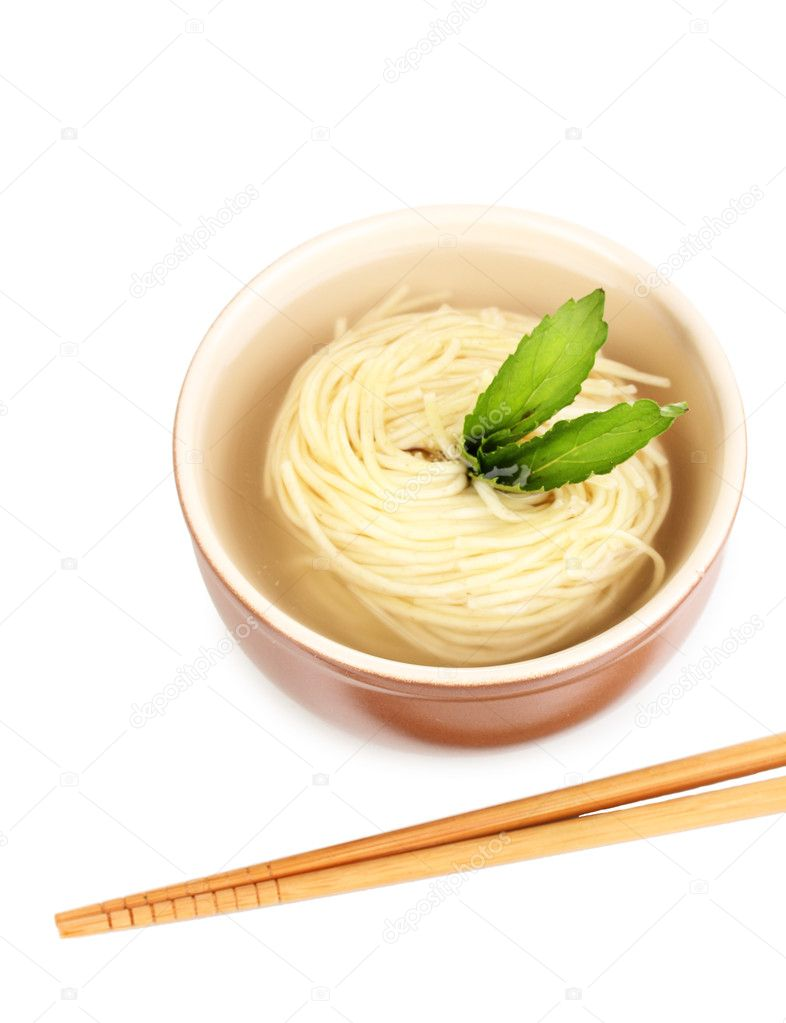 Asian noodles in bowl isolated on white — Stock Photo #12322529