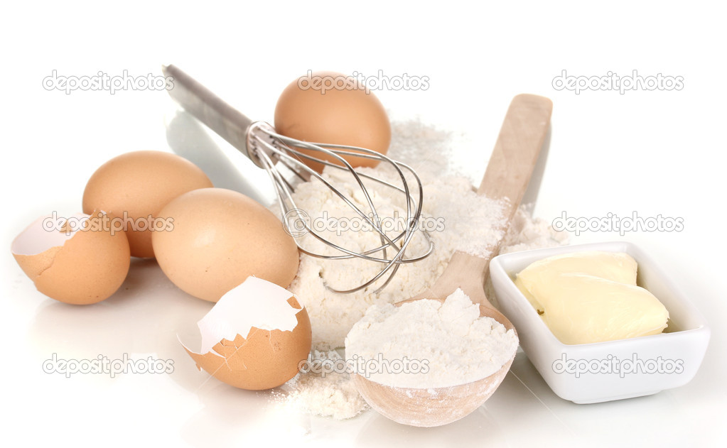 Eggs, flour and butter isolated on white — Stock Photo #12322539