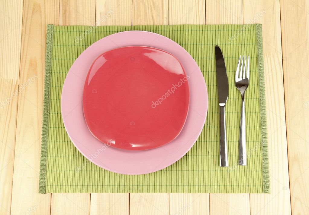 Table setting on wooden background close-up — Stock Photo #12322552