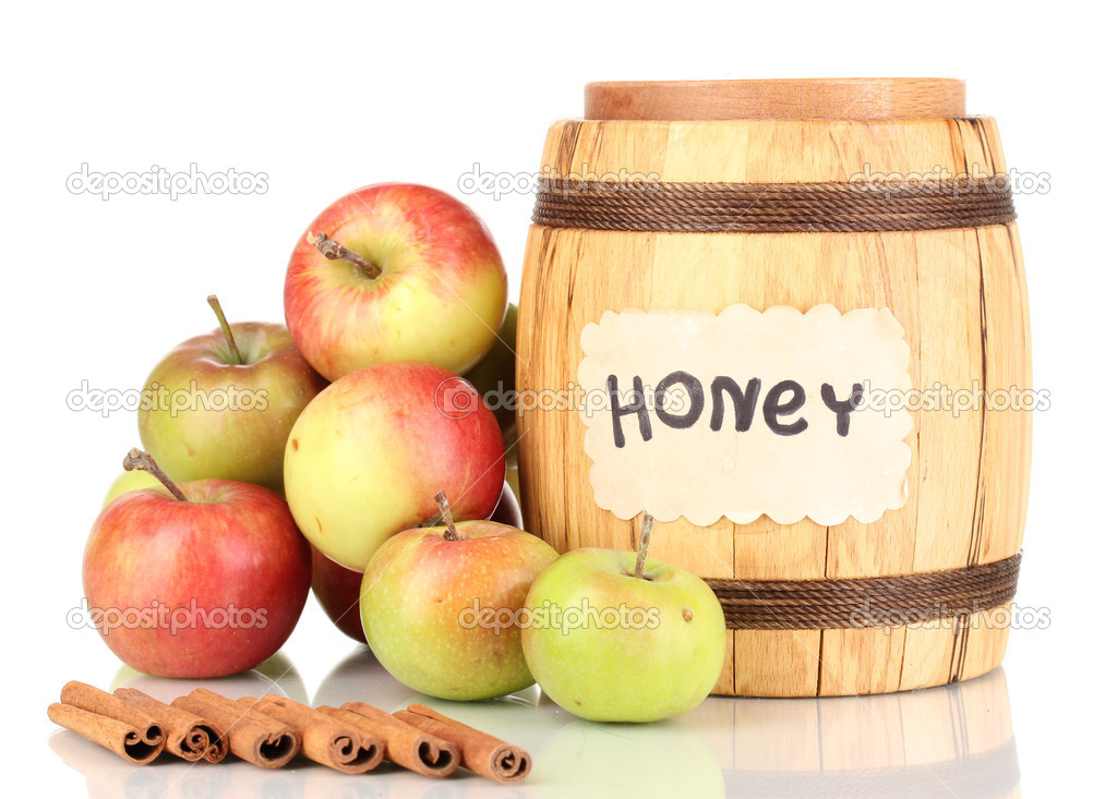 Honey and apples with cinnamon isolated on white  Stock Photo #12322557