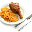 Roast chicken with french fries on plate, isolated on white — Stock Photo