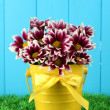 Stock Photo: Beautiful bouquet of chrysanthemums in a bright colorful bucket on blue fence background