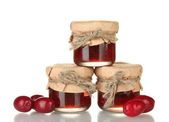Jars of jam from the cornel isolated on white — Stock Photo