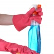 Cleaning surface in bright gloves with sponge and cleaning product on white background — Stock Photo #12363111
