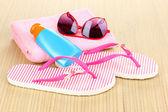 Plážové doplňky na mat — Stock fotografie