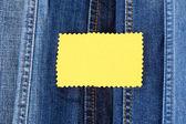 Muitos jeans com etiqueta closeup — Foto Stock