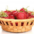 Sweet ripe strawberries in basket isolated on white — Stock Photo #12387632