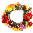 Wreath of beautiful summer flowers, isolated on white - Stok fotoğraf