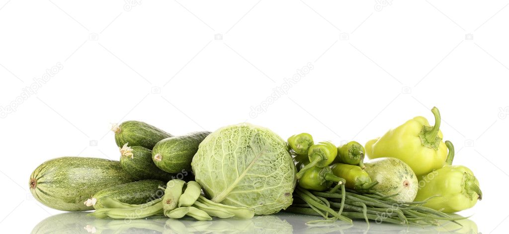 Fresh green vegetables isolated on white  Stock Photo #12387958