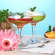 Постер, плакат: Fruit jelly in glasses and fruits on table on blue background