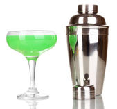 Tasty green cocktail isolated on white — Stock Photo