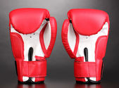 Red boxing gloves on grey background — Stock Photo