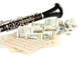 музыкальный инструмент с деньгами, изолированные на белом фоне — Стоковое фото