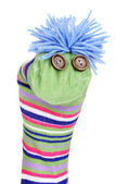 Cute sock puppet isolated on white — Photo