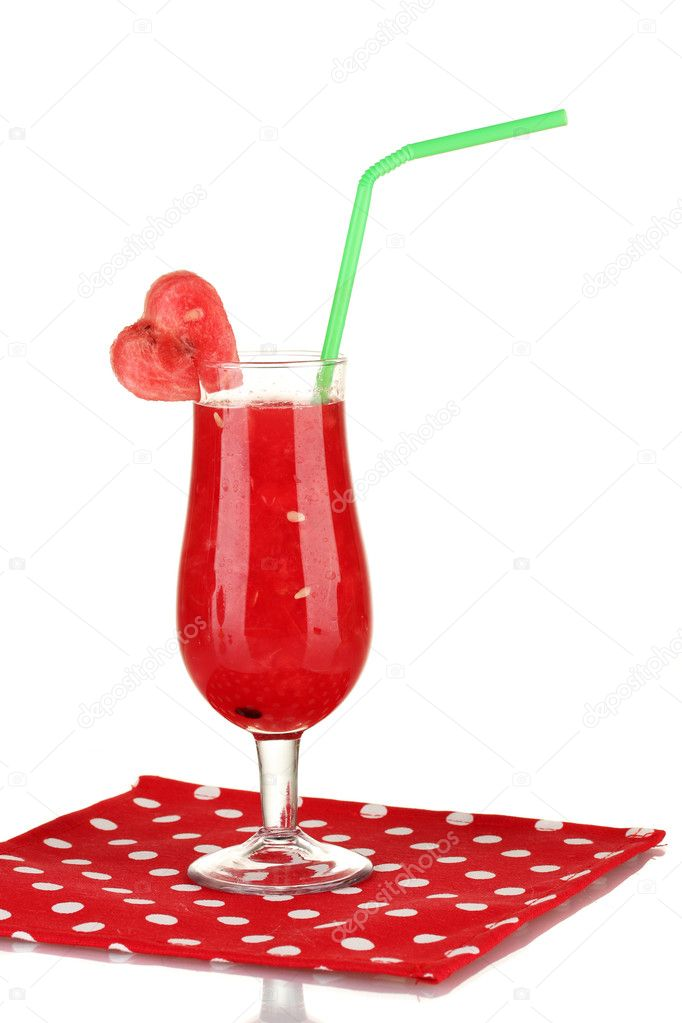 A glass of fresh watermelon juice on napkin on white background close-up — Stock Photo #12393165