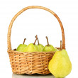 Fresh pears in wicker basket isolated on white — Stock Photo #12401337