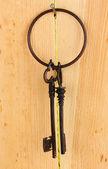 Bando de chaves no fundo de madeira — Fotografia Stock