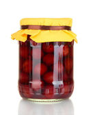Jar with canned cherries isolated on white — Stock Photo