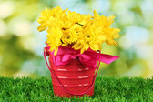 Beautiful bouquet of chrysanthemums in a bright colorful bucket on green background — Stock Photo