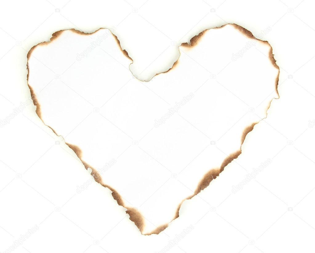 Burnt heart-shaped paper isolated on white — Stock Photo #12407960