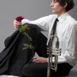 Portrait young man enamoured love Trumpet — Stock Photo